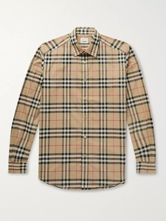 Burberry Checked Cotton-Poplin Shirt