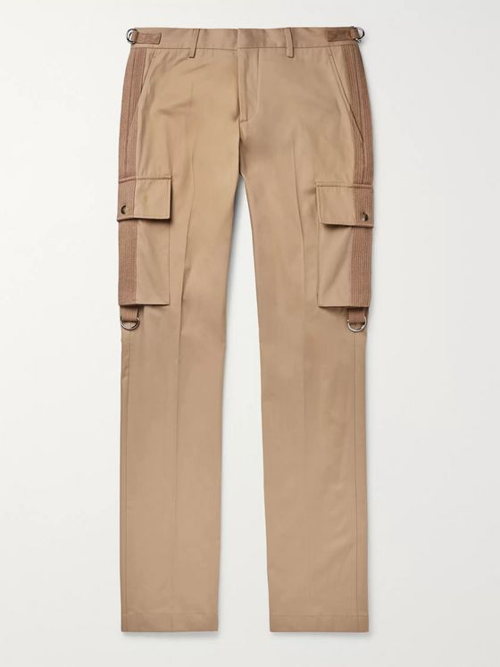 Burberry Slim-Fit Webbing-Trimmed Cotton-Twill Cargo Trousers