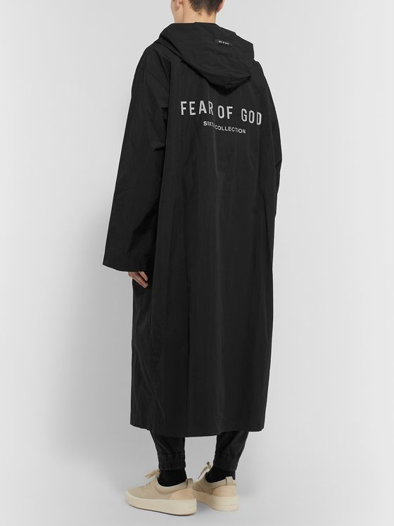 Fear of God Oversized Logo-Print Nylon Hooded Raincoat