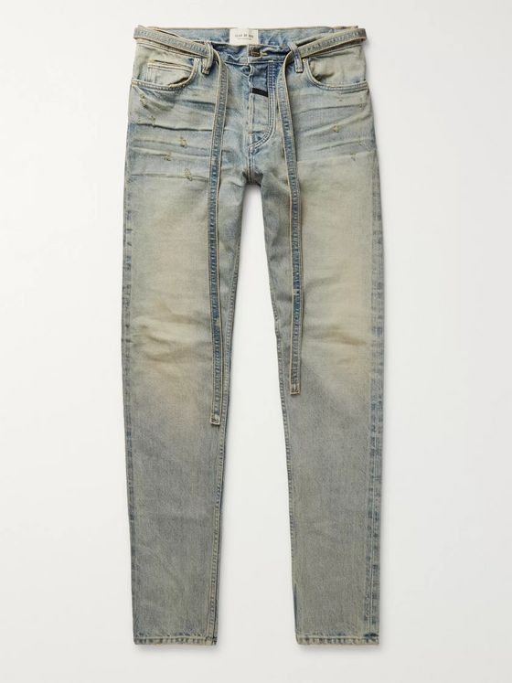 Fear of God Slim-Fit Tapered Distressed Denim Jeans