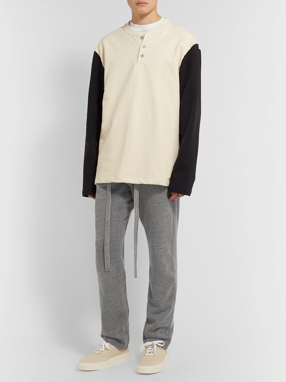 Fear of God Slim-Fit Tapered Belted Mélange Loopback Cotton-Blend Jersey Sweatpants
