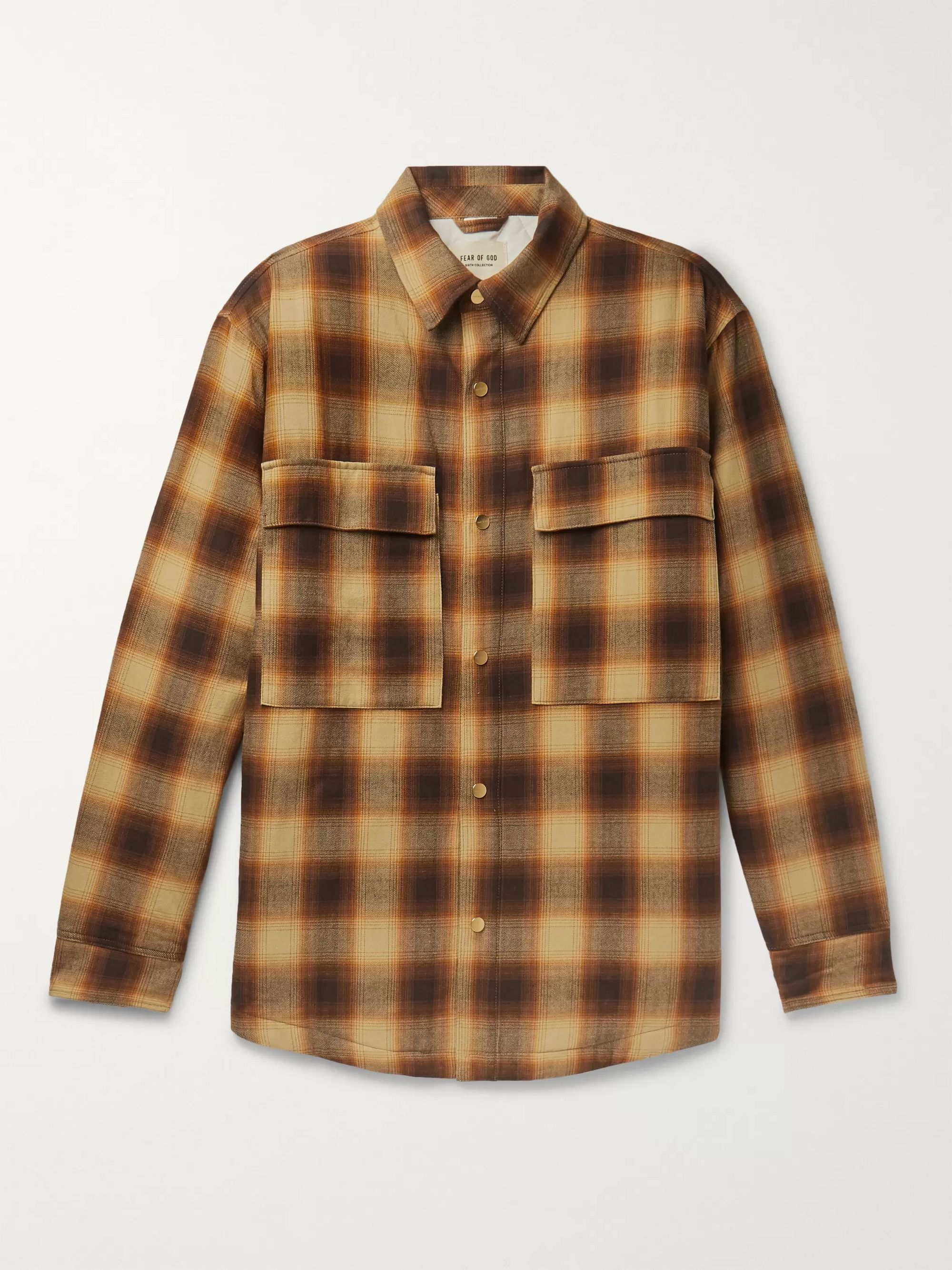 Fear of God Yellow Oversized Padded Checked Brushed-Cotton Overshirt,Yellow