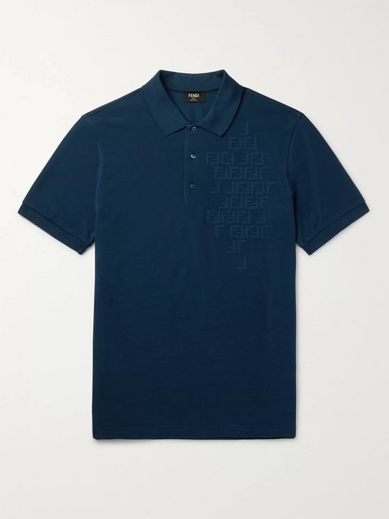 Fendi Slim-Fit Logo-Embossed Cotton-Piqué Polo Shirt
