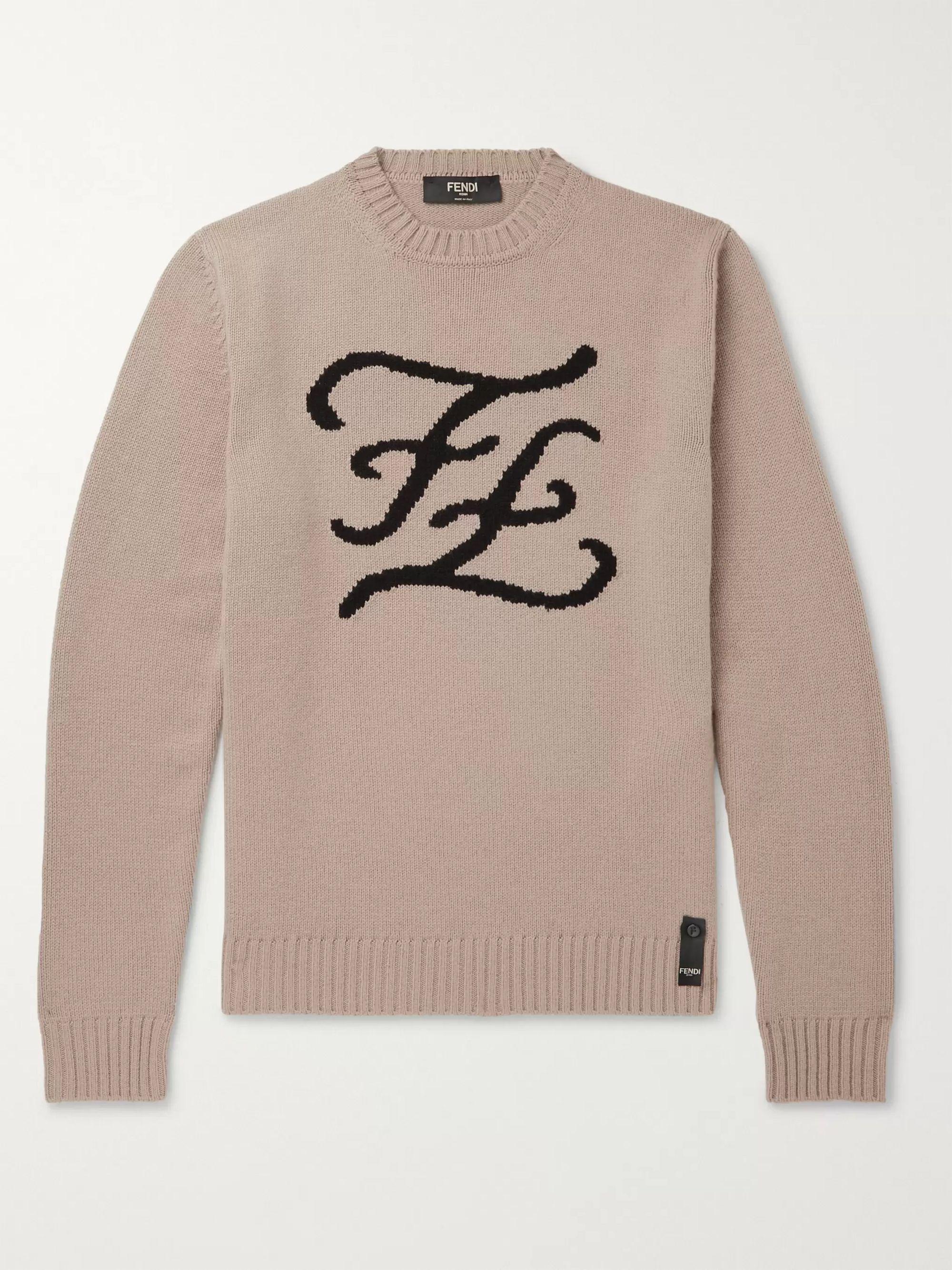 펜디 Fendi Beige Logo-Intarsia Cashmere Sweater,Beige