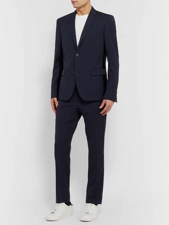 Fendi Midnight-Blue Slim-Fit Logo-Jacquard Satin-Trimmed Virgin Wool Suit Jacket