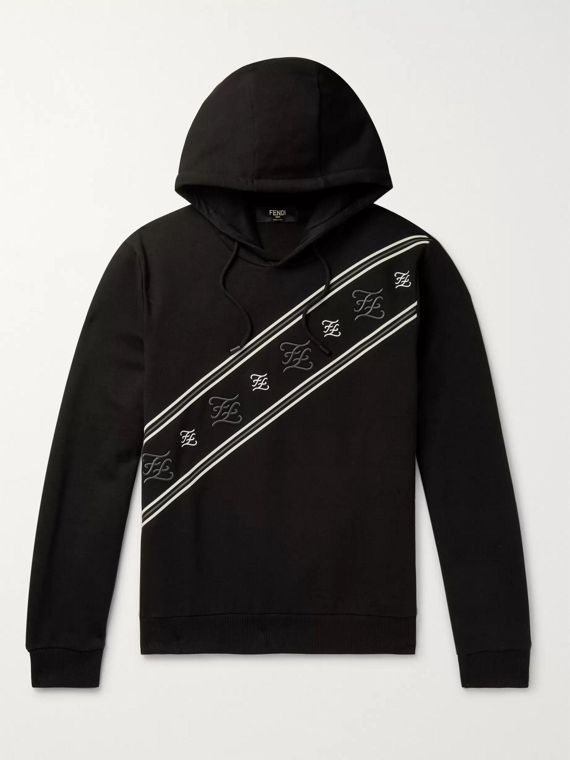펜디 Fendi Black Logo-Embroidered Fleece-Back Cotton-Jersey Hoodie,Black