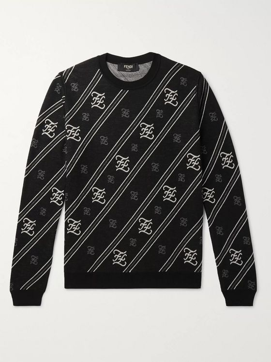 Fendi Slim-Fit Logo-Jacquard Wool Sweater