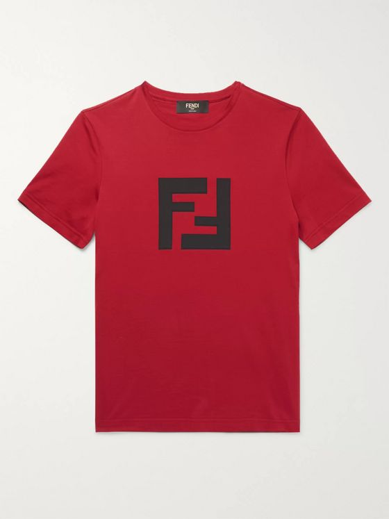 Fendi Slim-Fit Logo-Appliquéd Cotton-Jersey T-Shirt