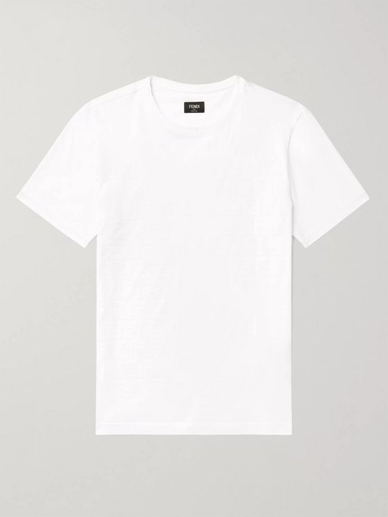 Fendi Slim-Fit Logo-Flocked Cotton-Jersey T-Shirt