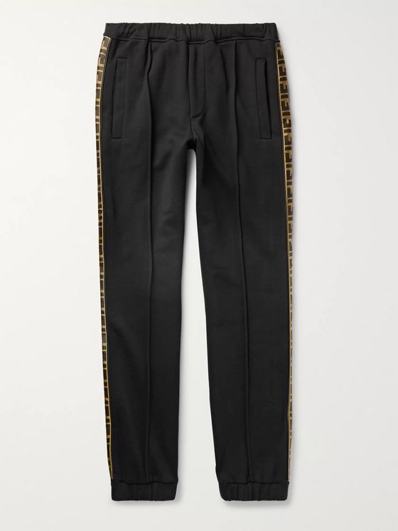 Fendi Tapered Logo-Trimmed Wool, Cotton, Silk and Cashmere-Blend Jersey Sweatpants