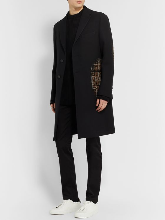 Fendi Slim-Fit Logo-Jacquard Cotton and Wool-Blend Coat