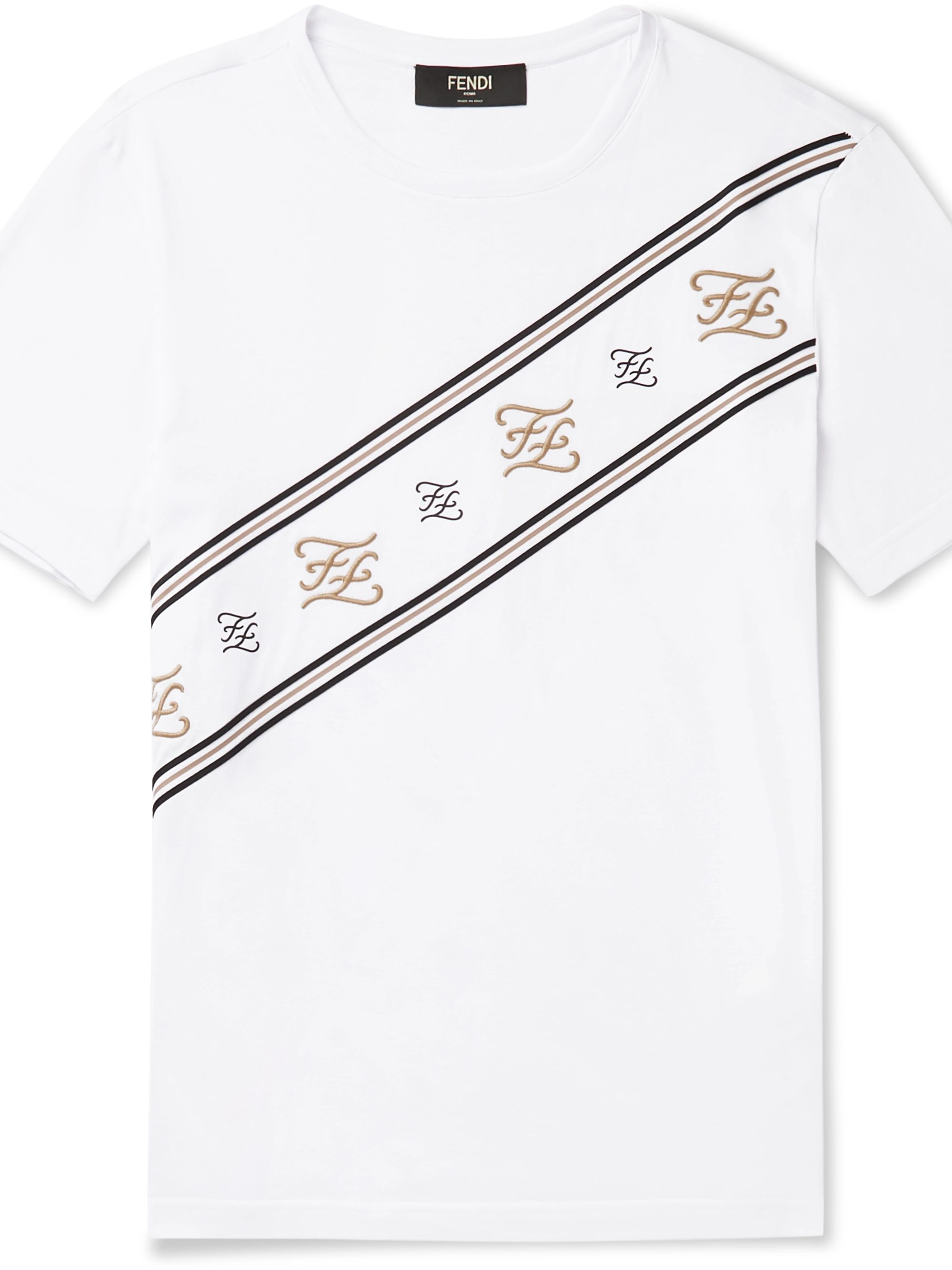 Fendi Slim-Fit Logo-Embroidered Cotton-Jersey T-Shirt