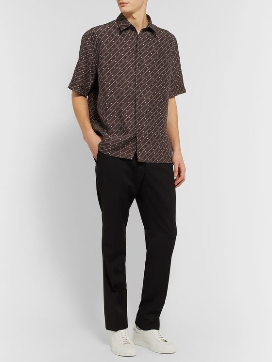 Fendi Printed Silk Crepe de Chine Shirt