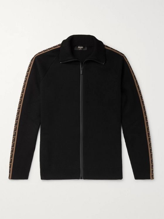 Fendi Logo-Jacquard Wool Zip-Up Track Jacket
