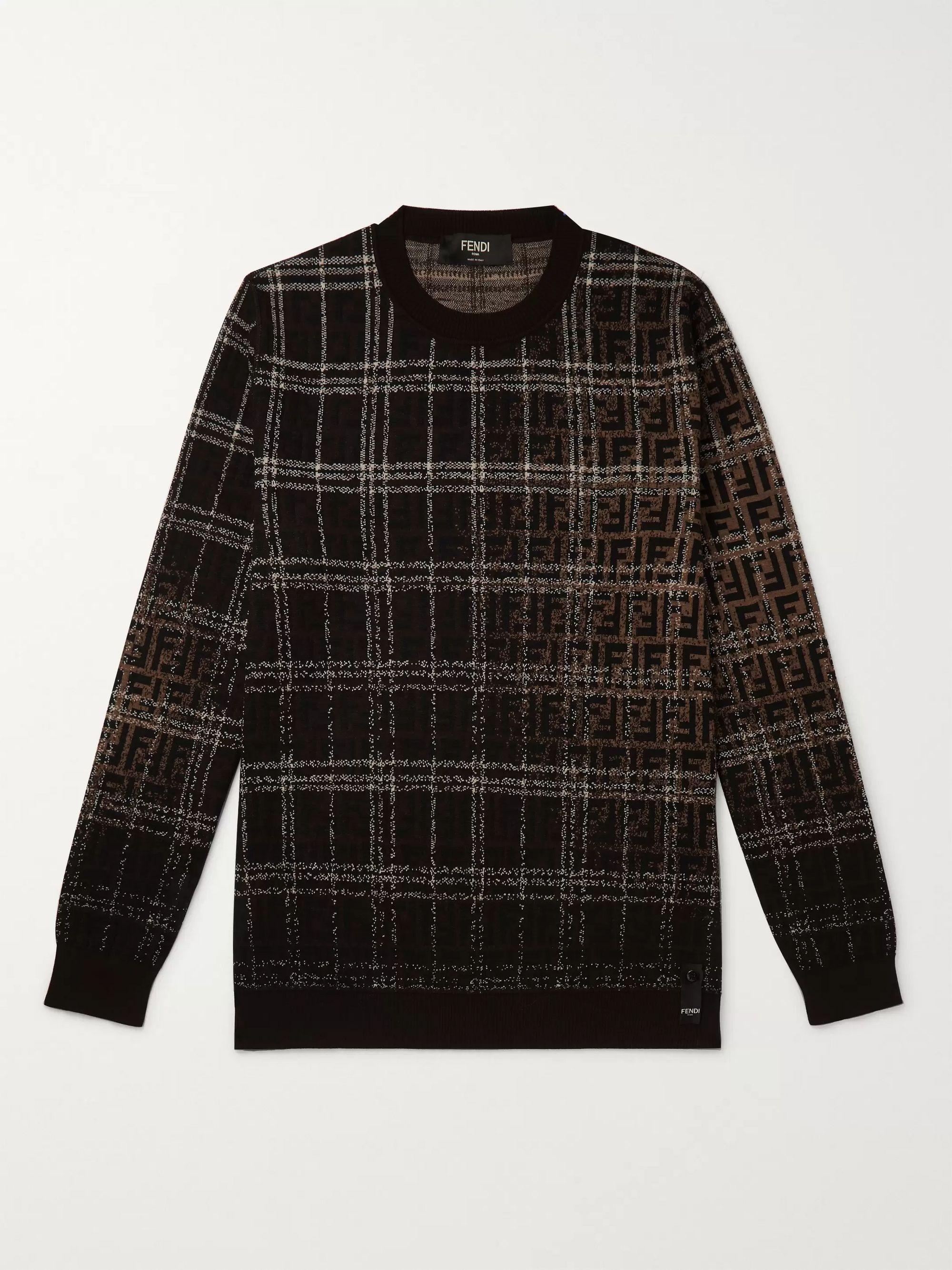펜디 Fendi Brown Logo-Intarsia Wool Sweater,Brown