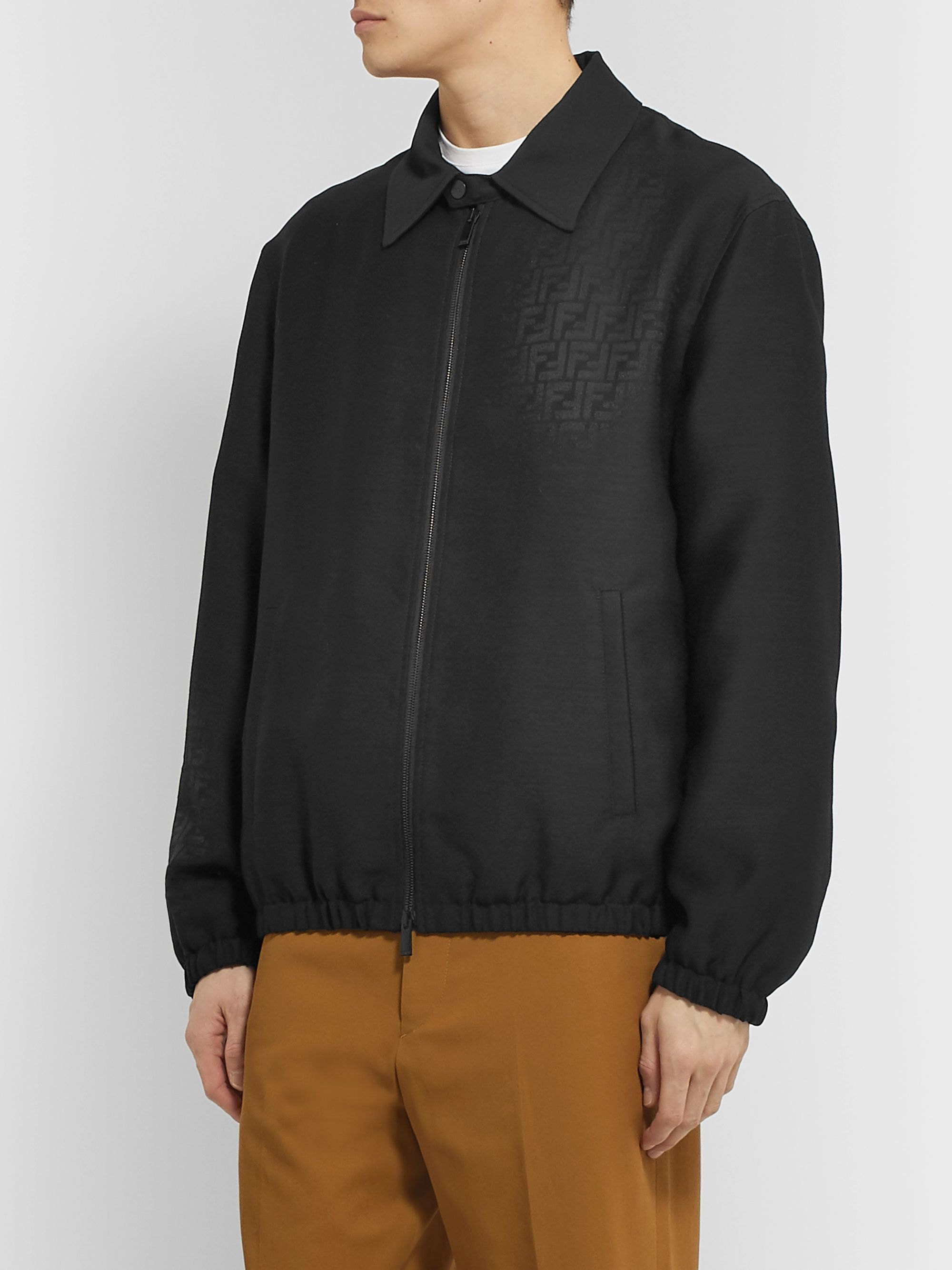 Fendi Wool and Silk-Blend Jacquard Bomber Jacket