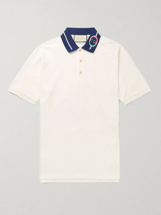 Gucci Slim-Fit Logo-Embroidered Stretch-Cotton Piqué Polo Shirt