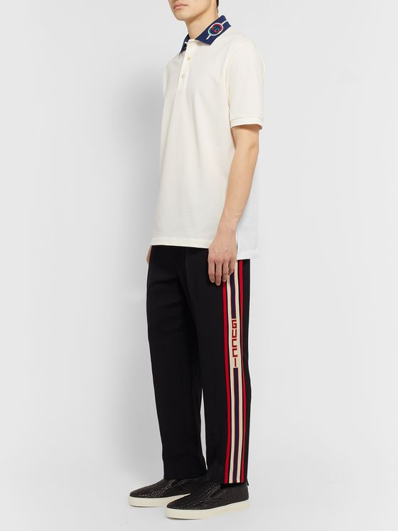 Gucci Embroidered Stretch-Cotton Piqué Polo Shirt