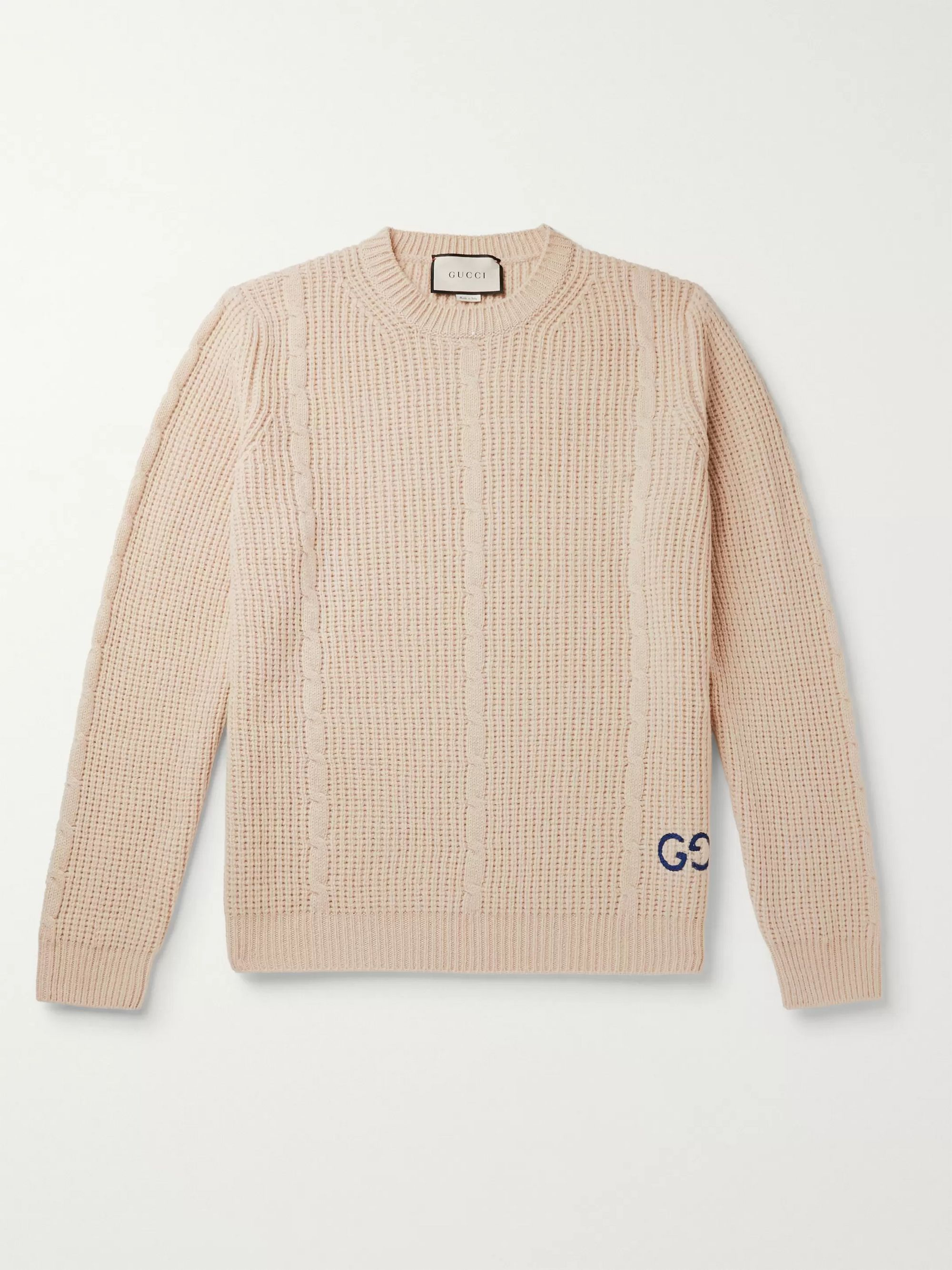구찌 Gucci Beige Logo-Embroidered Cable-Knit Wool-Blend Sweater,Beige