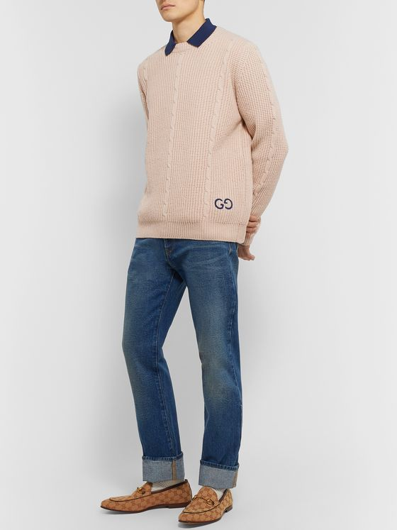 Gucci Logo-Embroidered Cable-Knit Wool-Blend Sweater