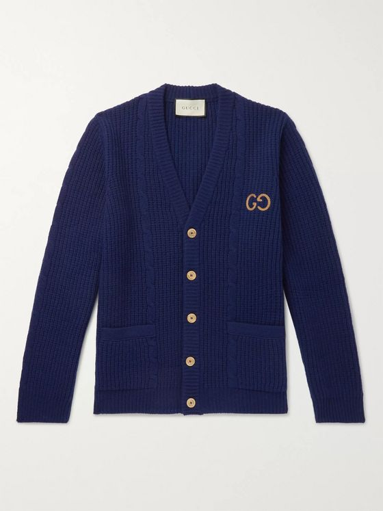 Gucci Logo-Embroidered Cable-Knit Wool Cardigan