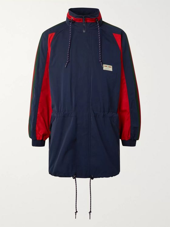 Gucci Webbing-Trimmed Colour-Block Coated-Canvas Jacket