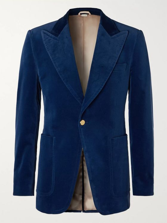 Gucci Slim-Fit Cotton-Blend Velvet Blazer