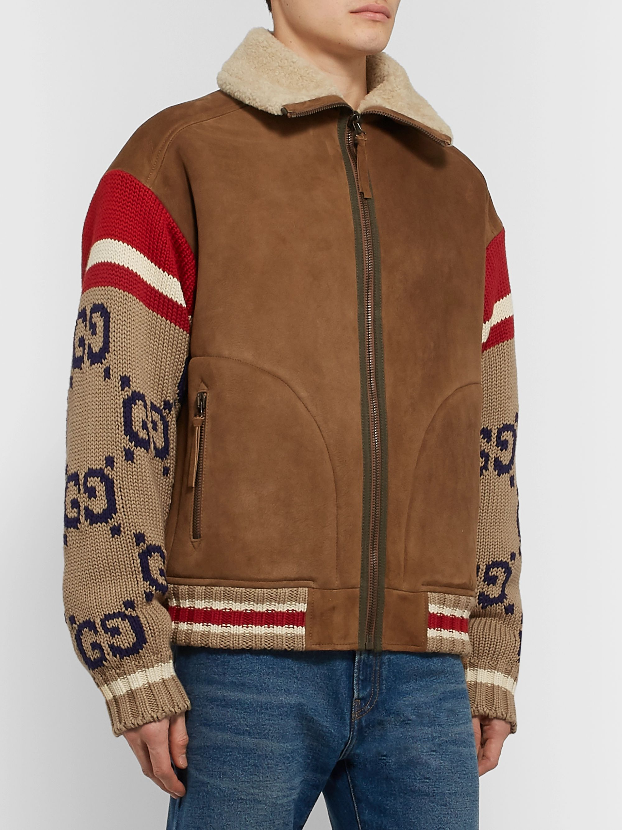 Gucci Logo-Jacquard and Shearling Jacket