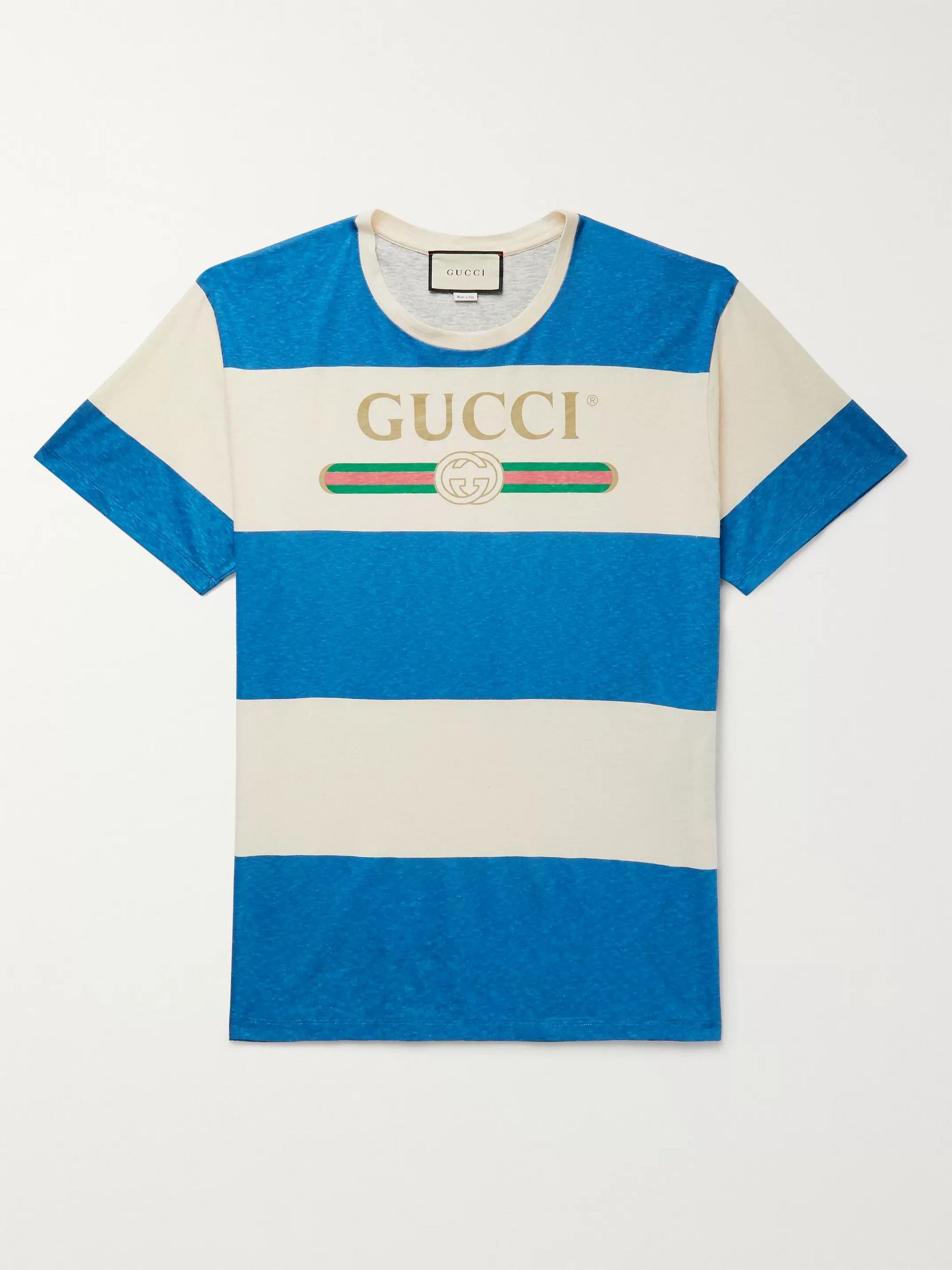 구찌 Gucci Logo-Print Striped Cotton and Hemp-Blend T-Shirt,Blue