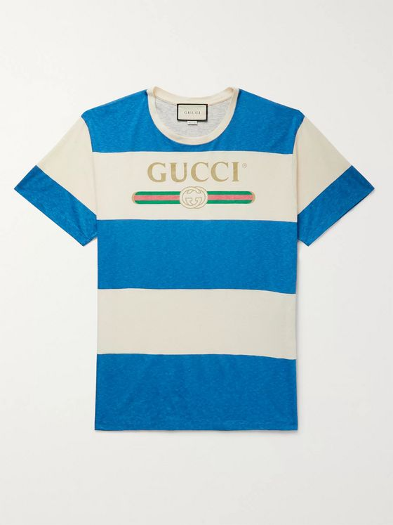 Gucci Logo-Print Striped Cotton and Hemp-Blend T-Shirt