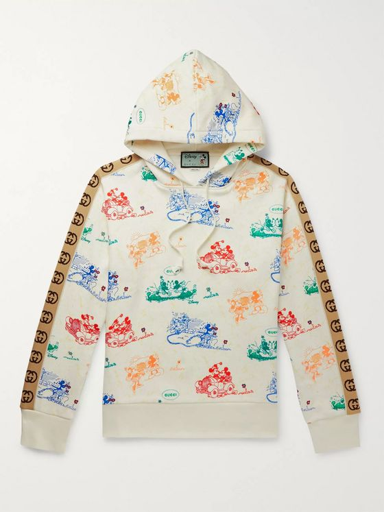 Gucci + Disney Webbing-Trimmed Printed Loopback Cotton-Jersey Hoodie