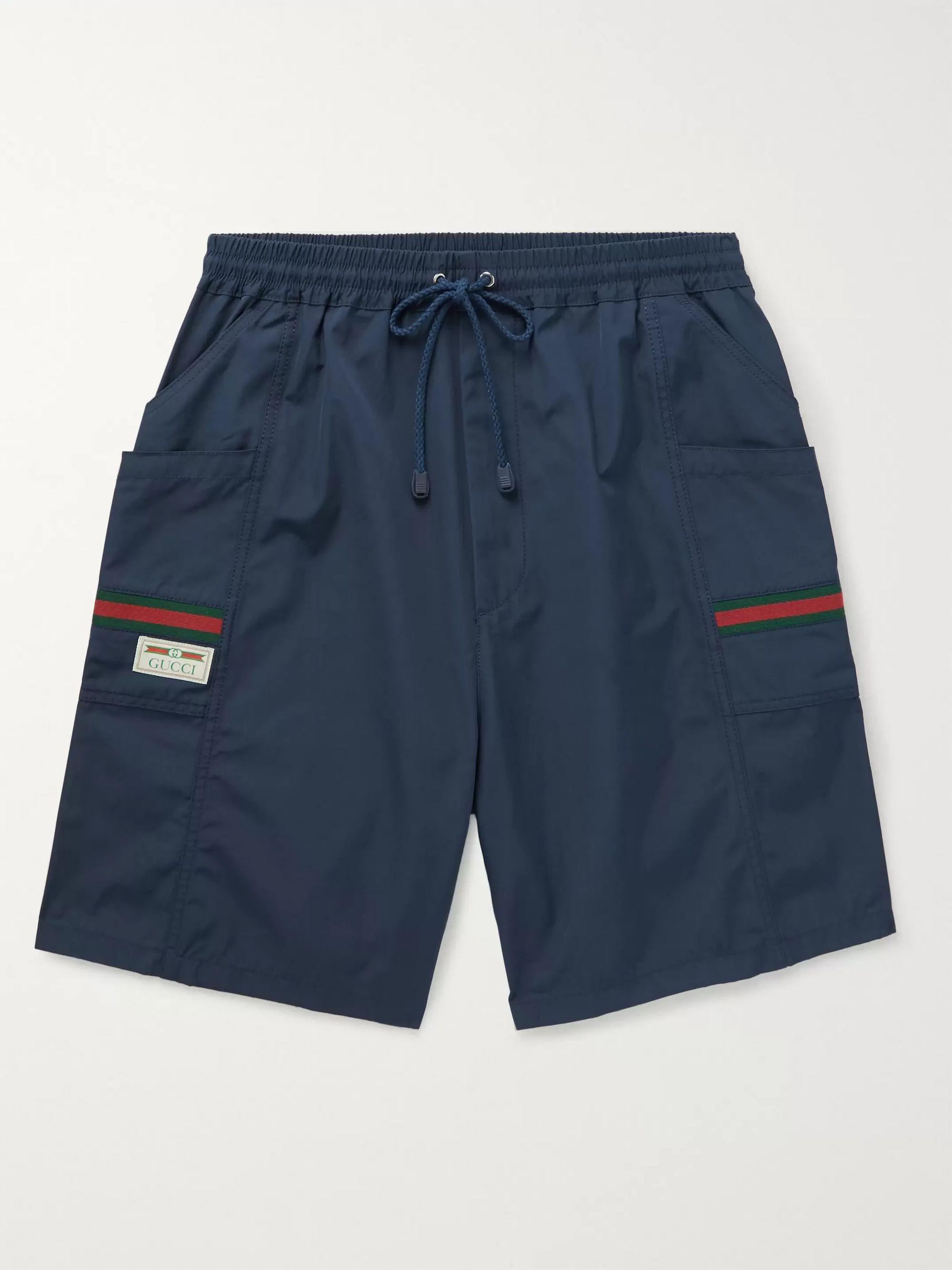 구찌 Gucci Striped Webbing-Trimmed Shell Drawstring Shorts,Navy