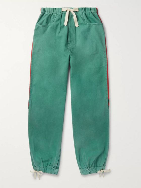 Gucci Webbing-Trimmed Shell and Washed-Cotton Track Pants