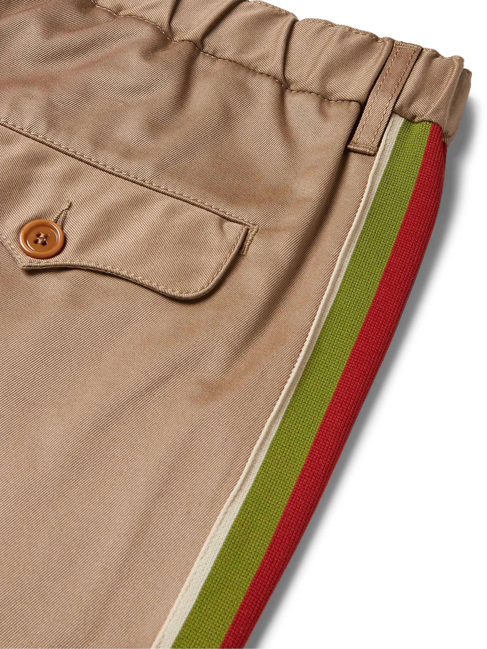 Gucci Slim-Fit Webbing-Trimmed Cotton-Drill Trousers