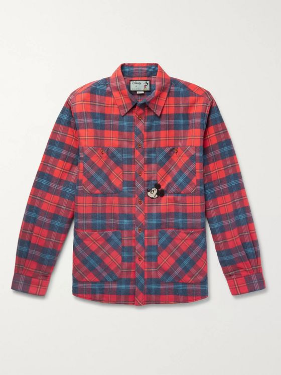 GUCCI + Disney Appliquéd Padded Checked Cotton-Flannel Overshirt