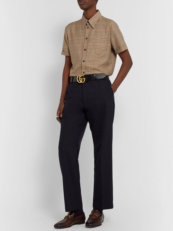 Gucci Micro-Checked Wool and Cotton-Blend Shirt