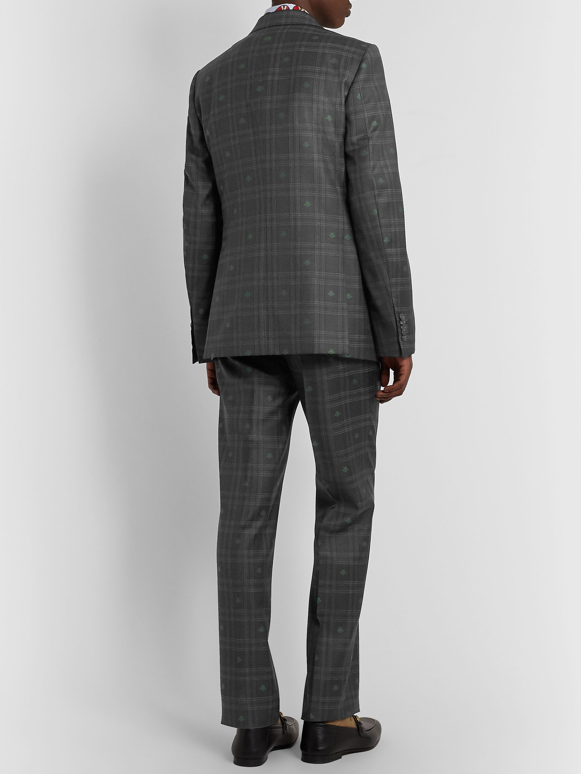 Gucci Slim-Fit Embroidered Prince of Wales Checked Wool Suit