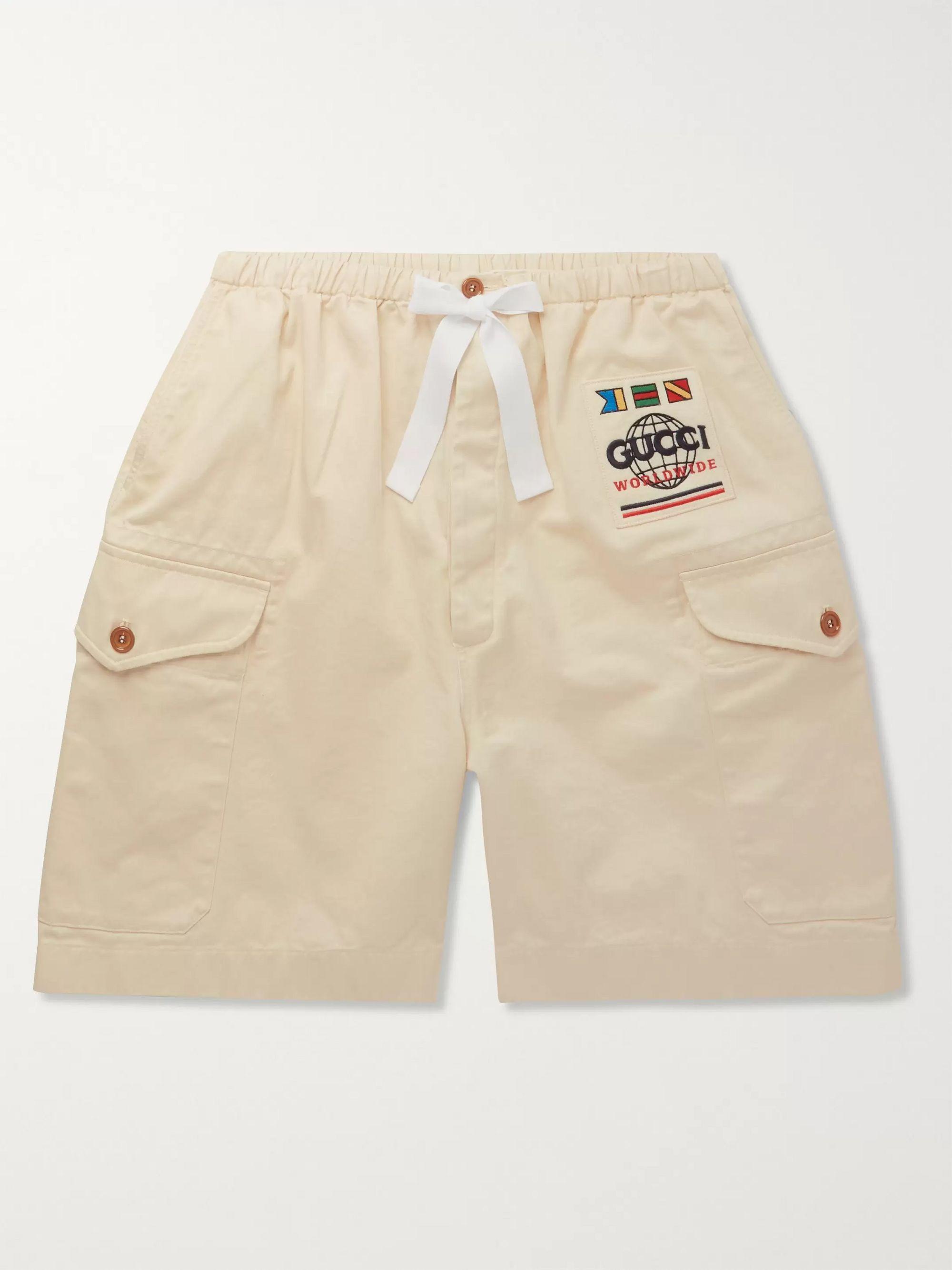 구찌 Gucci Wide-Leg Appliqued Cotton-Twill Cargo Shorts,Beige