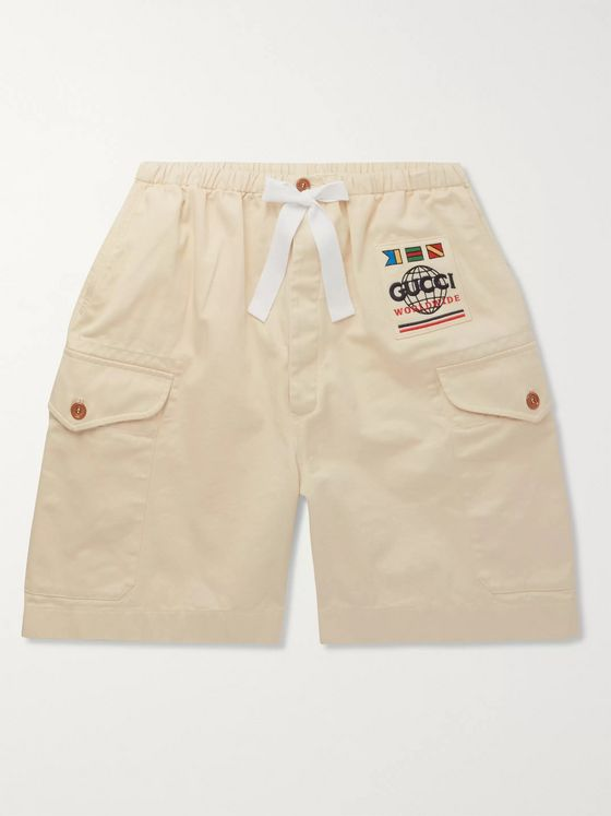 Gucci Wide-Leg Appliquéd Cotton-Twill Cargo Shorts