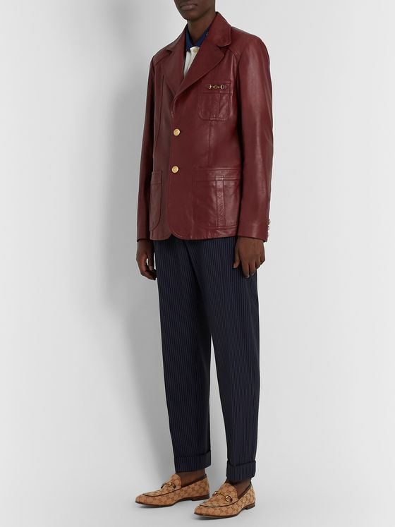 Gucci Slim-Fit Horsebit Leather Blazer
