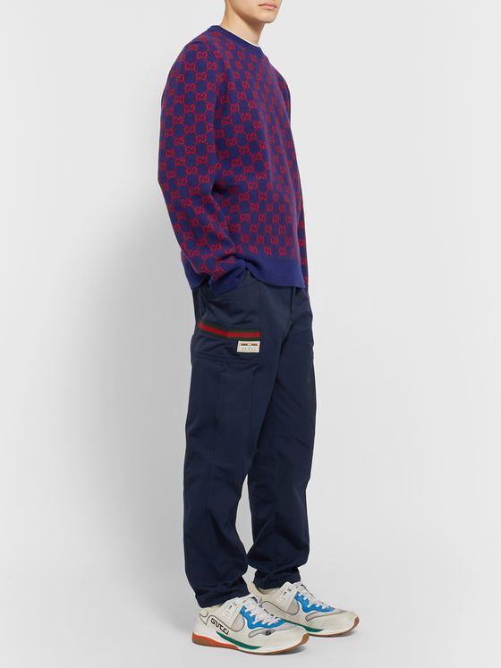 Gucci Navy Tapered Logo-Appliquéd Tech-Jersey Drawstring Trousers