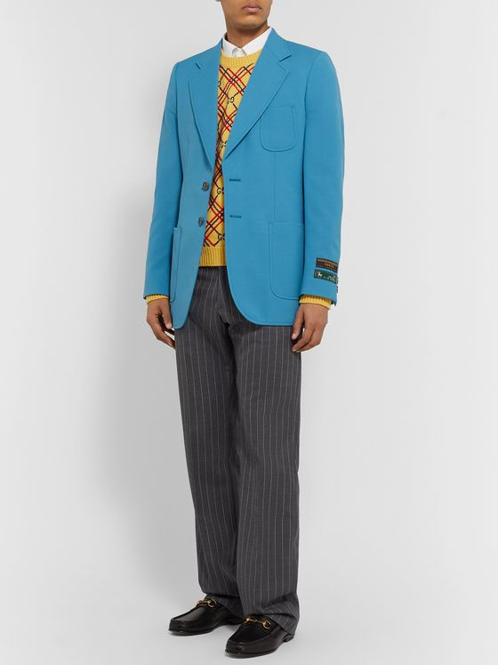 Gucci Blue Wool-Blend Canvas Blazer