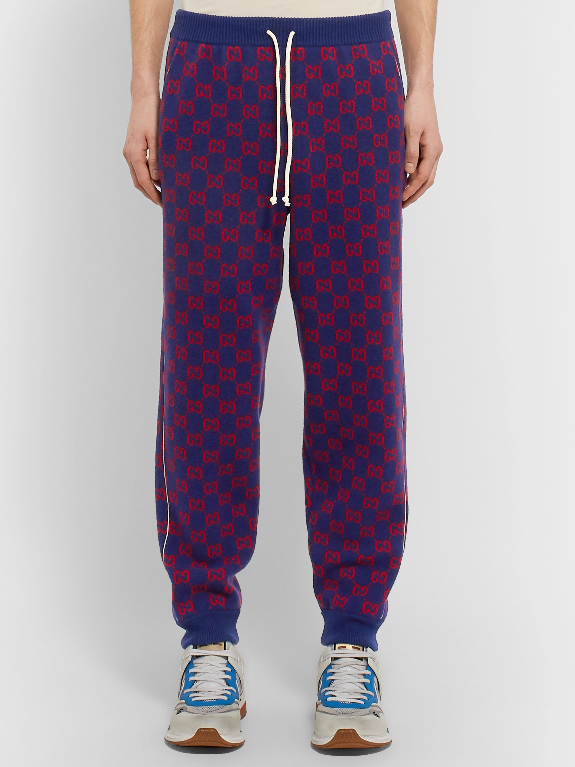 Gucci Tapered Logo-Intarsia Wool and Cashmere-Blend Sweatpants