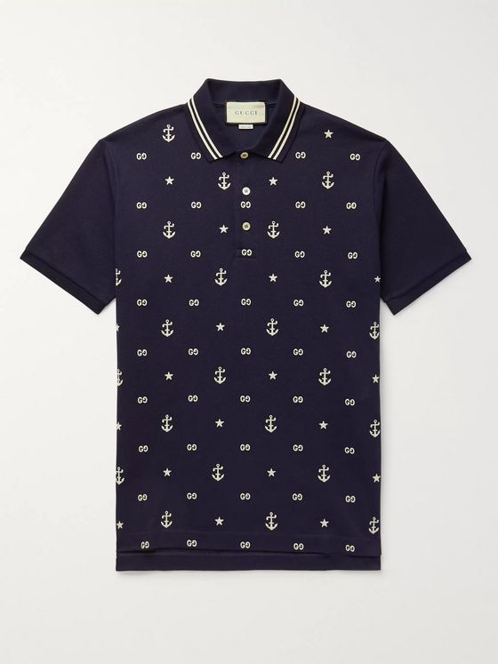 Gucci Contrast-Tipped Logo-Embroidered Stretch-Cotton Piqué Polo Shirt