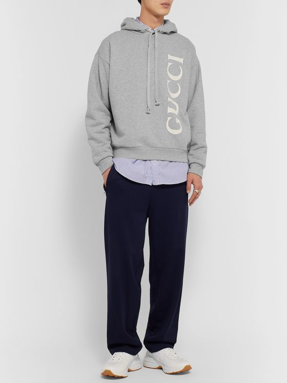 Gucci Logo-Print Mélange Loopback Cotton-Jersey Hoodie