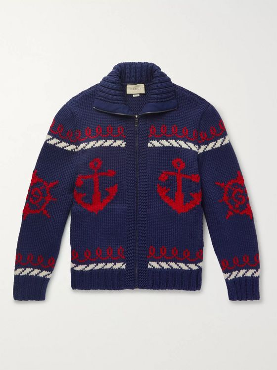 Gucci Relaxed Intarsia Wool Zip-Up Cardigan