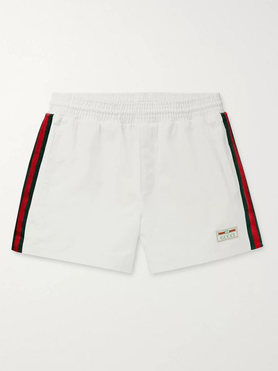 Gucci Mid-Length Webbing-Trimmed Swim Shorts