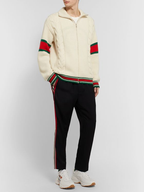 Gucci Striped Cable-Knit Wool Zip-Through Jacket