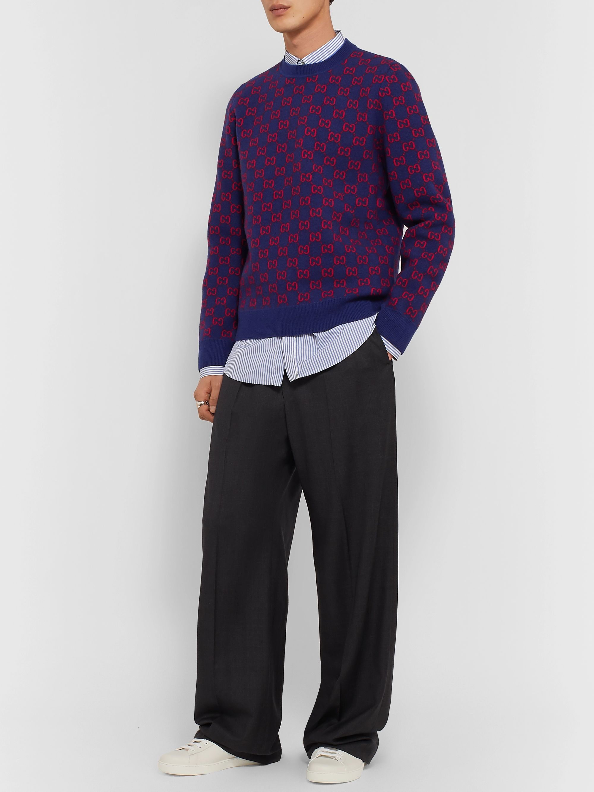 Gucci Logo-Jacquard Wool and Cashmere-Blend Sweater
