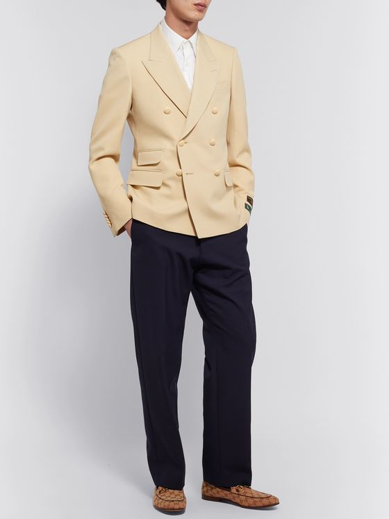 GUCCI New Signoria Double-Breasted Herringbone Wool Blazer